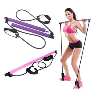 Portable Fitness Yoga Pilates Bar Kit With Resistance Bands Foot Loop Muscle Toning