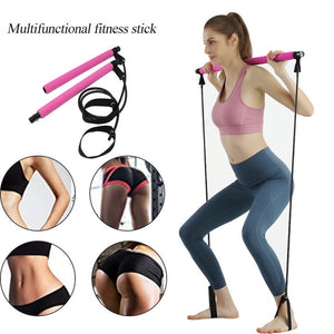 Pilates Stick Bar with Resistance Bands Portable Fitness Pilates Rubber Tube Bands