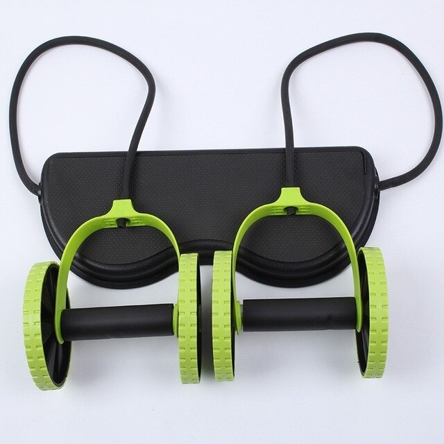 Fitness AB Roller Muscle Trainer Resistance Pull Rope Wheels Home Belly Workout