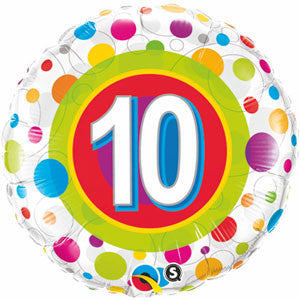45cm 10th Birthday Colourful Dots