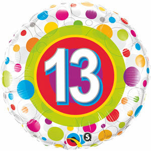 45cm 13th Birthday Colourful Dots
