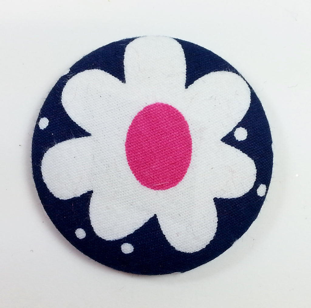 POPPET 32 Navy with White and Pink Flower Cotton