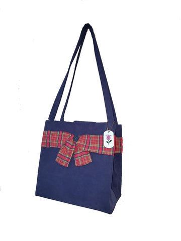 Blue Box Tote with Red Plaid $15