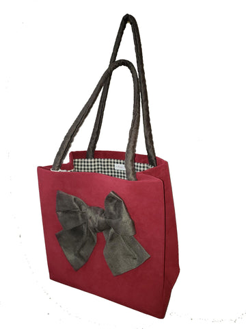 Brick Red Box Tote with Mocha Bow $20
