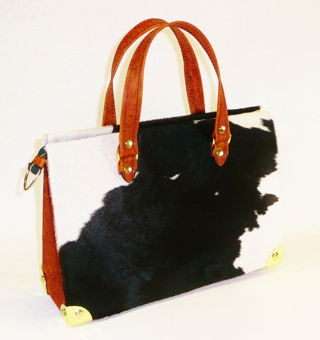 FOXGLOVE Hair-On Leather Handbag with Zipper Top