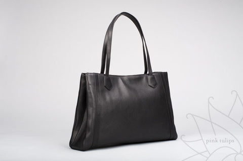 CALLA LILY Leather Tote in Black or Fuschia