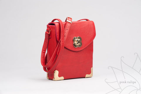 ORCHID Leather Crossbody Bag in Red $25