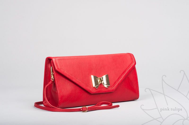 ROSE Leather Clutch with Bow Turn Lock and Detachable Shoulder Strap in Black or Red