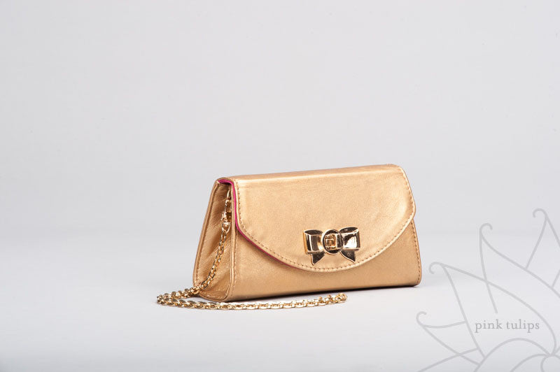VIOLET Small Leather Clutch with Bow Turn Lock and Detachable Shoulder Chain in Gold or Black