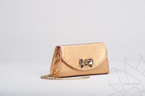 VIOLET Small Leather Clutch with Bow Turn Lock and Detachable Shoulder Strap in Gold or Black $10