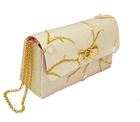SNOW DROP Petite Clutch in Ivory and Gold