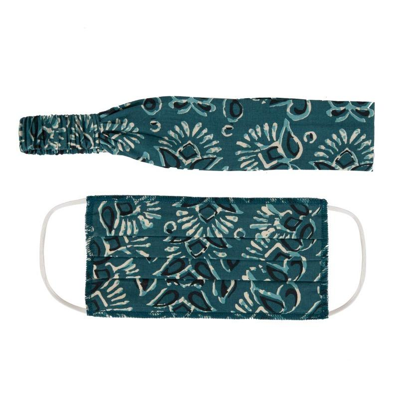 Jaipuri Printed Mask & Hairband Set of 2