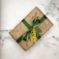 Australian Christmas gift wrapping green and gold