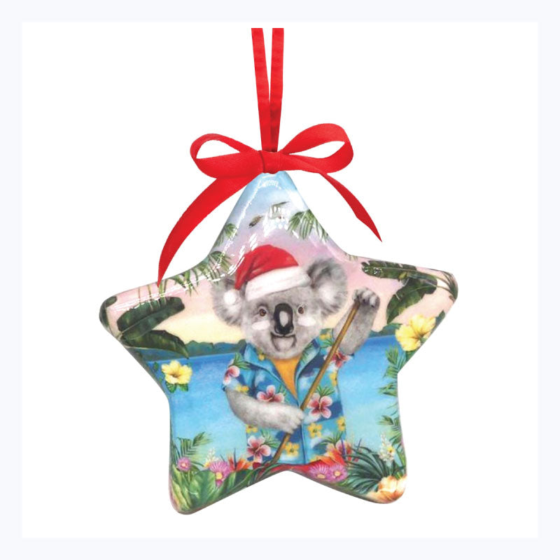 AUSTRALIAN XMAS Ornament star beach koala