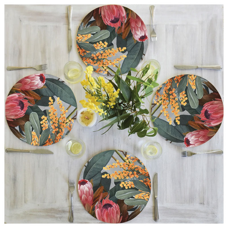 placemat protea and wattle