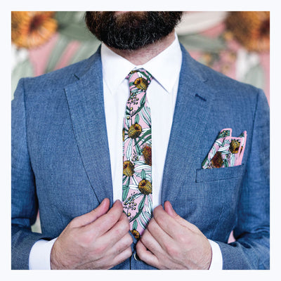 Australian-gift-for-him-stylish-pink-Banksia-tie-coton