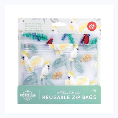 reusable zip bag australiana birds