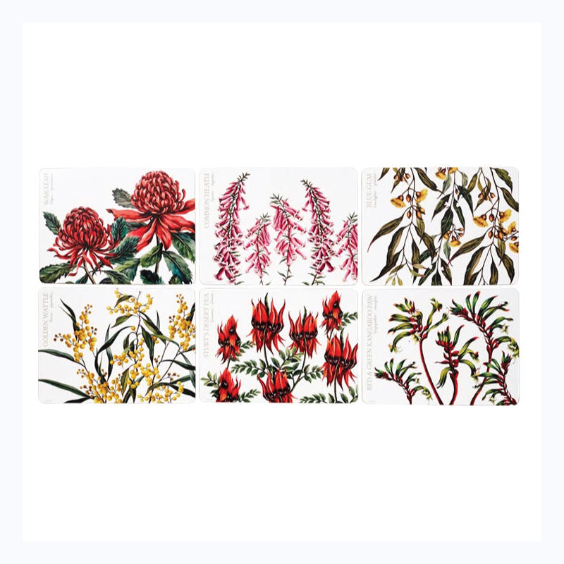Placemats - 6 Set Floral Emblems of Australia