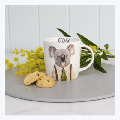 Best souvenir gift from Australia Gday-Koala-mug-with-wattle-and-biscuits