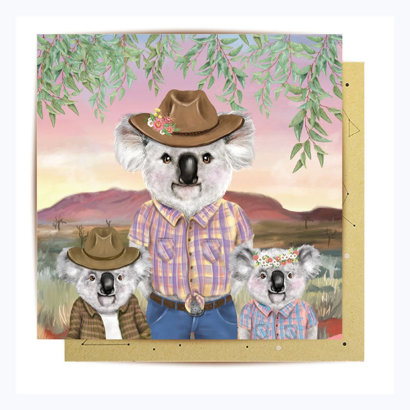 Greeting card cowboy koala mum