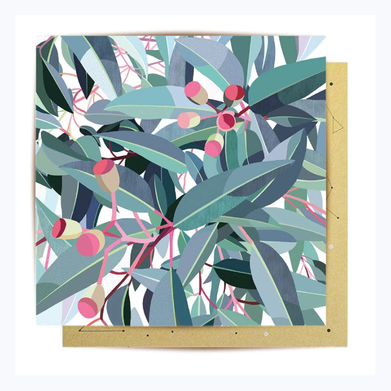 greeting card eucalyptus leaves