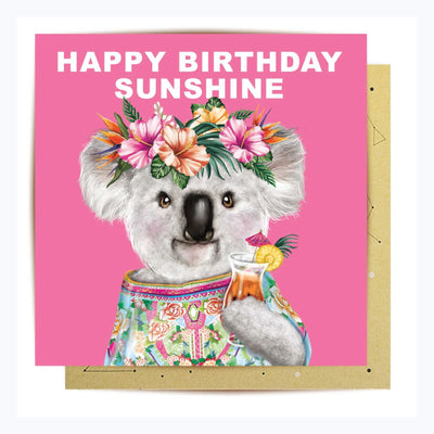 Greeting Card Happy Birthday koala sunshine