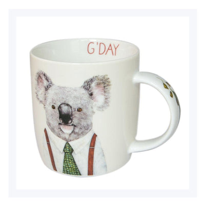 Koala-mug-gdday-clothesd-koala-with-tie-and-braces-smiling