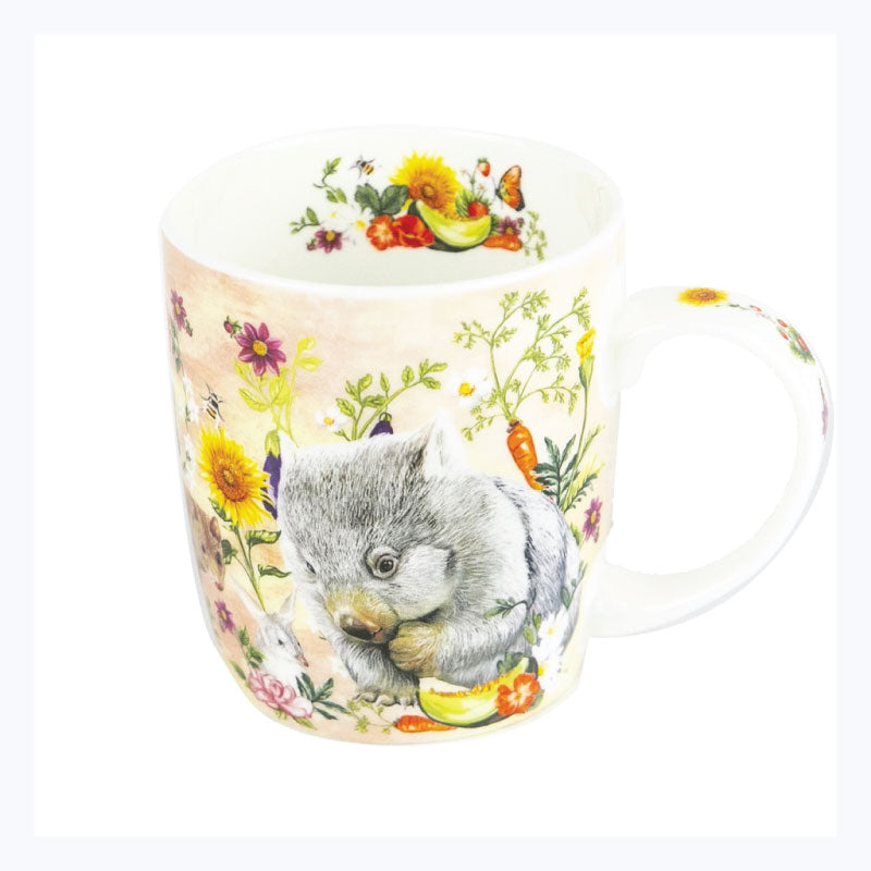 Mug-secret-garden-animals-wombat-bilby