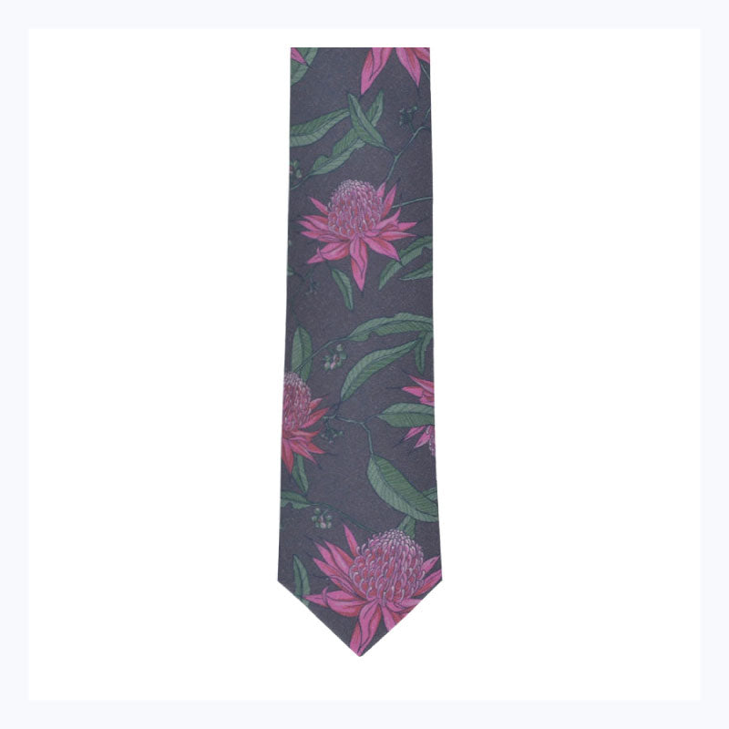 Waratah-tie-mens-floral-ties-australian-gifts-business