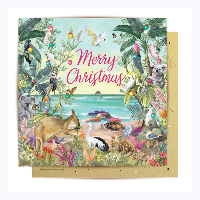 australian christmas card animals on beach