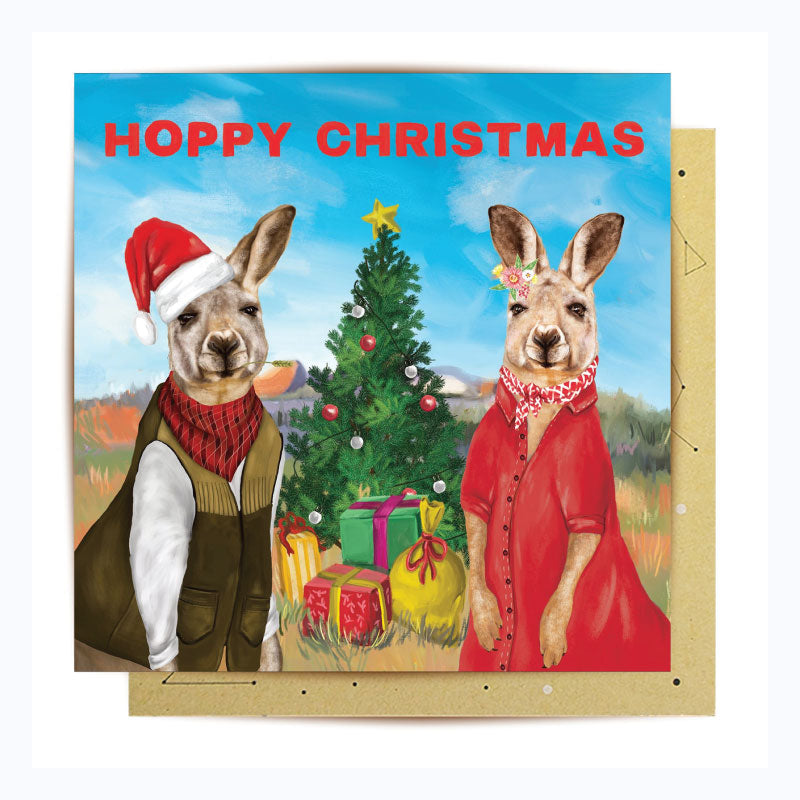 australian themed christmas card single hoppy chrismtas kangaroo