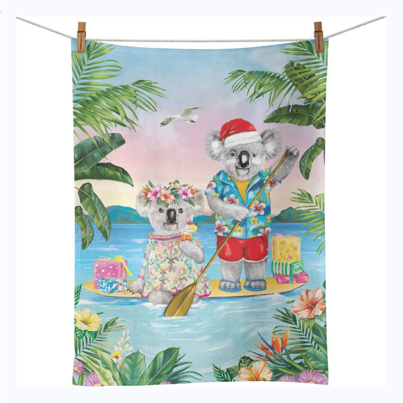 Australian Xmas Tea Towel - Koala Lovers Paddle