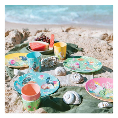 coastal abode cup and plate set