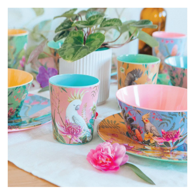 Cup set australian birds bright