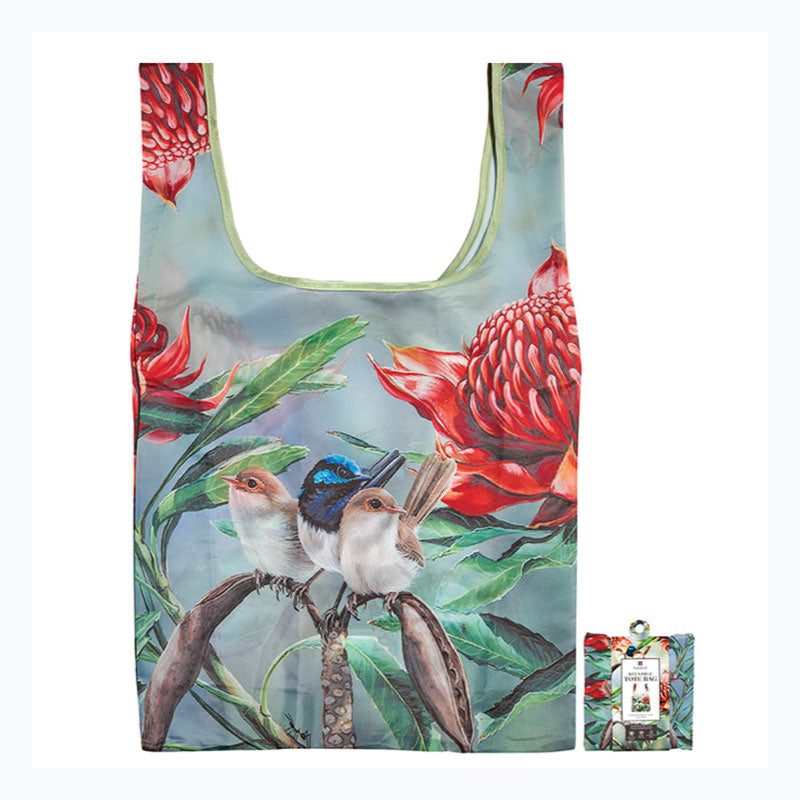 foldable shopper bag blue wren and waratah