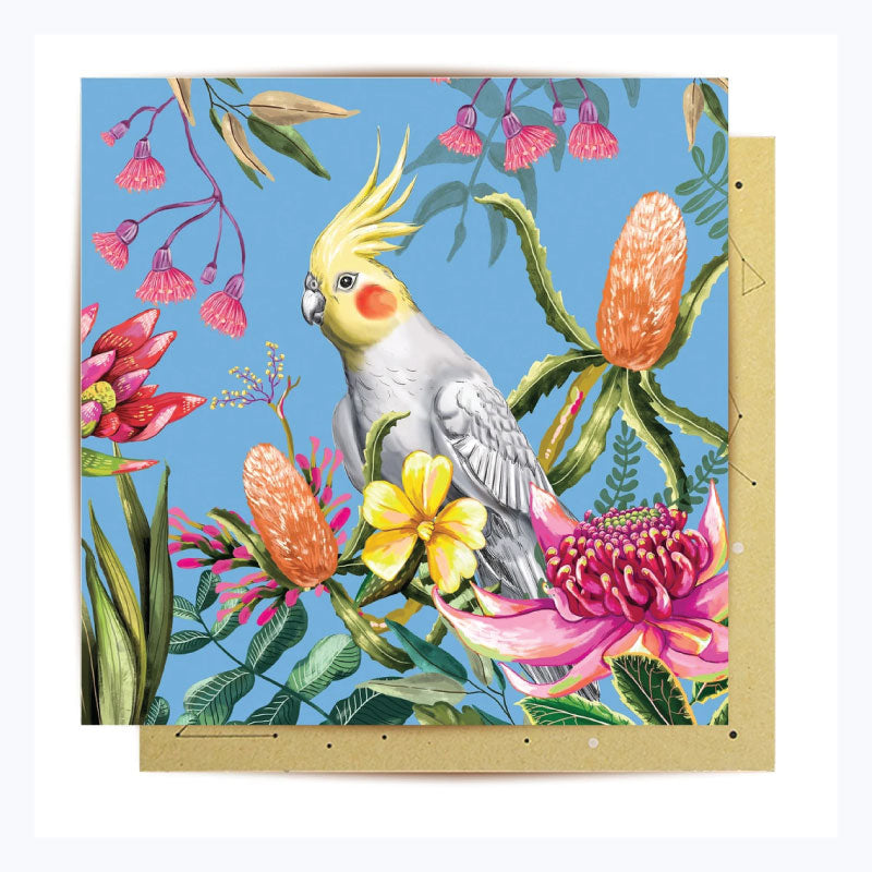 Greeting Card Cockatiel Paradiso