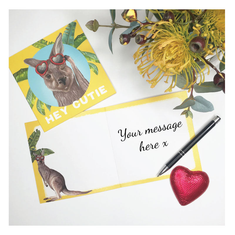 greeting card hey cutie kangaroo