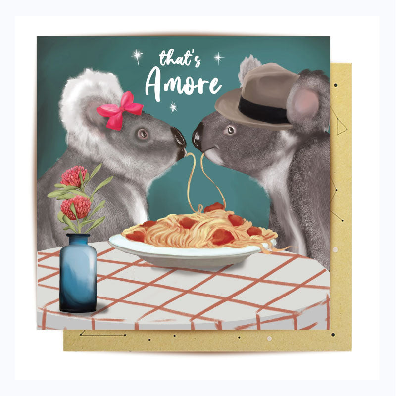 greeting card koala dinner for 2 valentines day