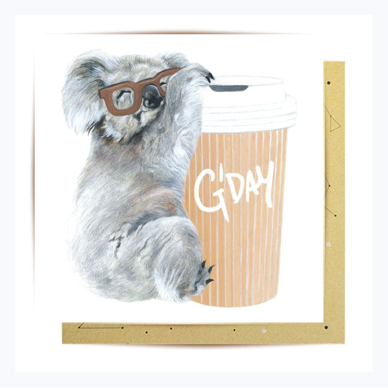 Greeting Card G'day Koala with Coffee