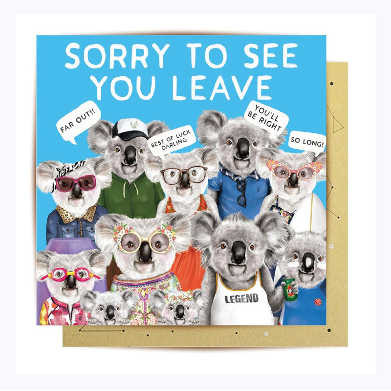 Greeting card koala sorry to see you leave