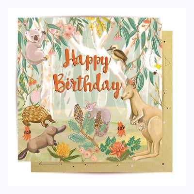 Happy Birthday card australian animals