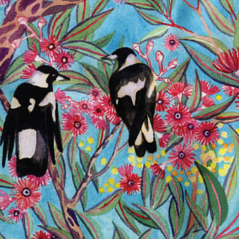 ceaning cloth  magpies in gum leaves and gum blossoms