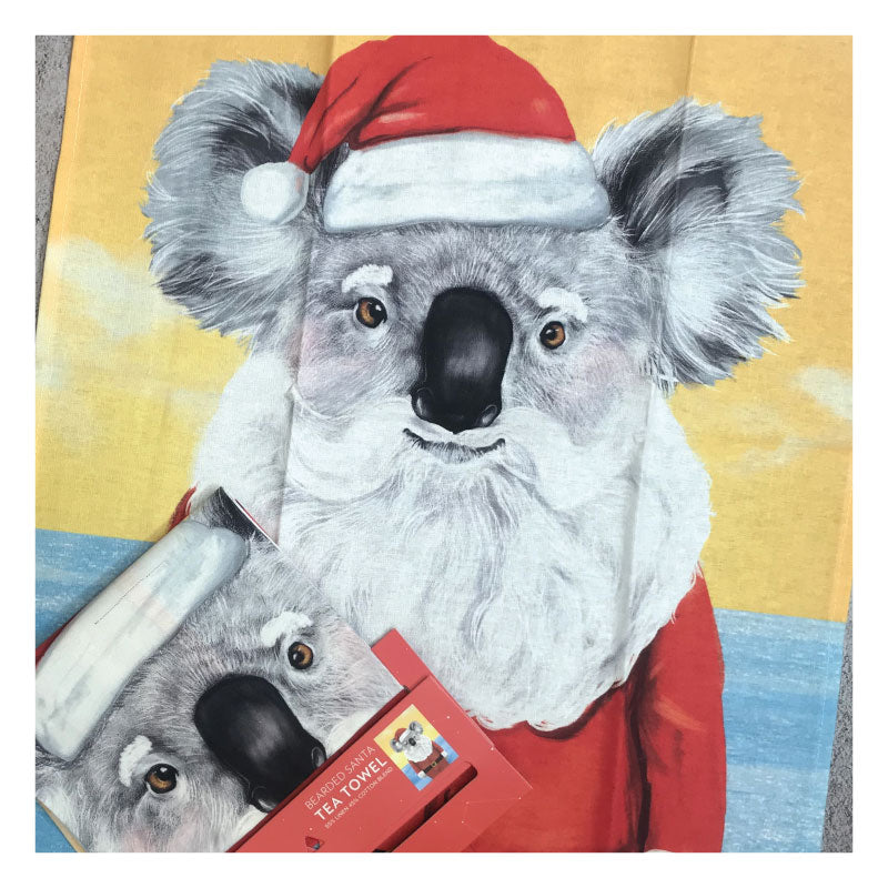 Koala santa tea towel