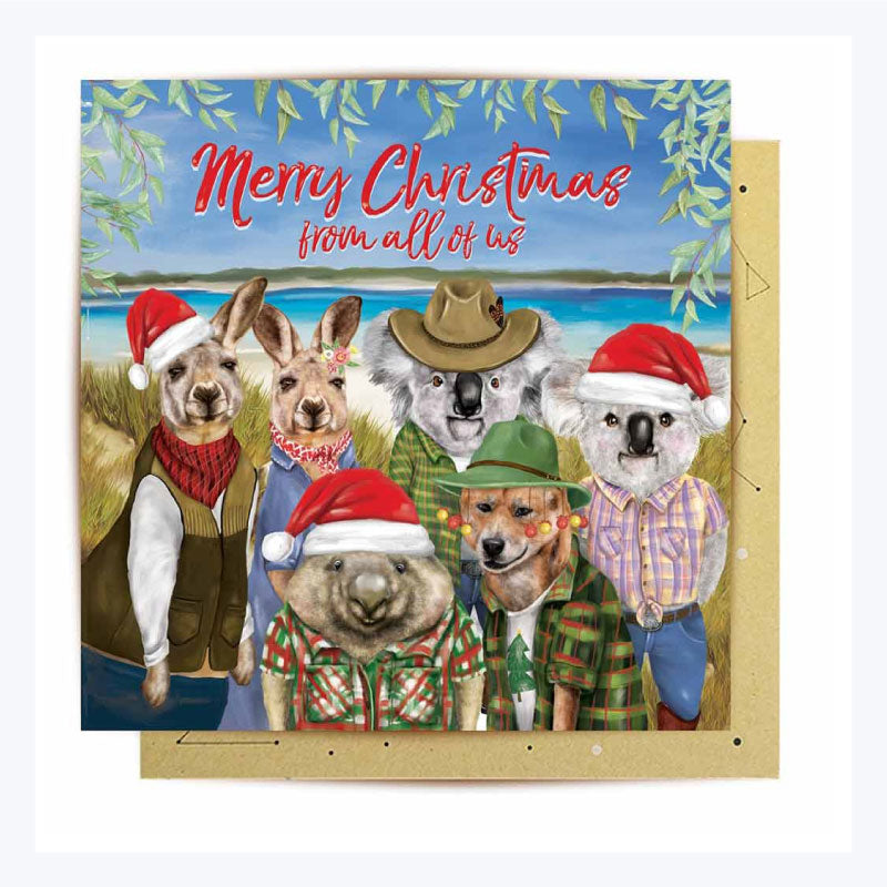 Australian Xmas Card (Single) - Merry Christmas from  All of Us