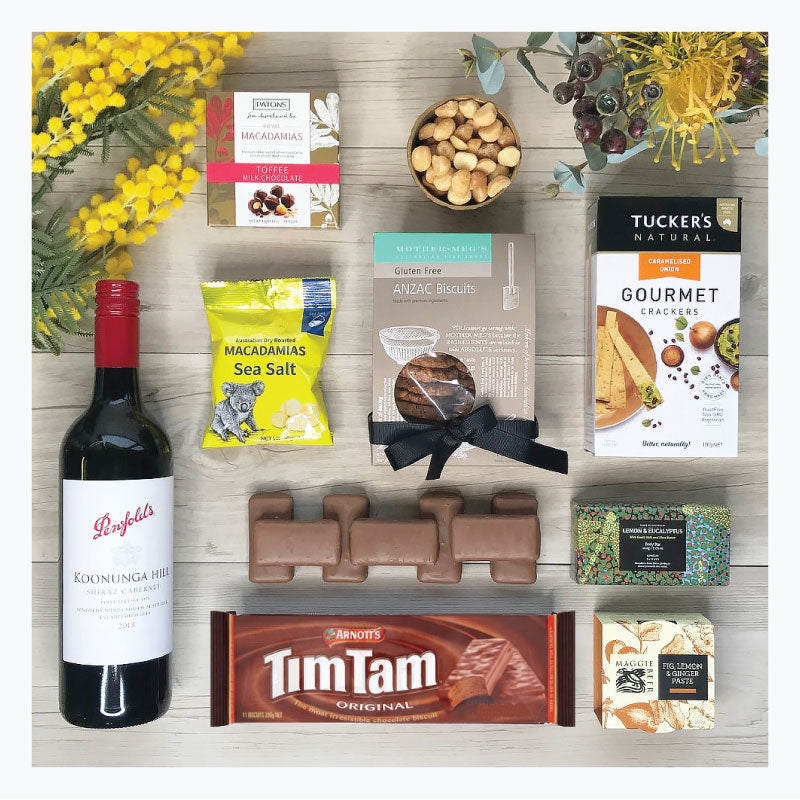 jolly swagman gift hamper red wine penfolds