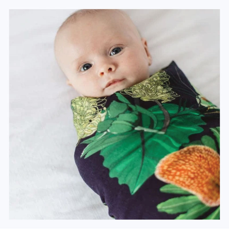organic baby muslin swaddle green banksia