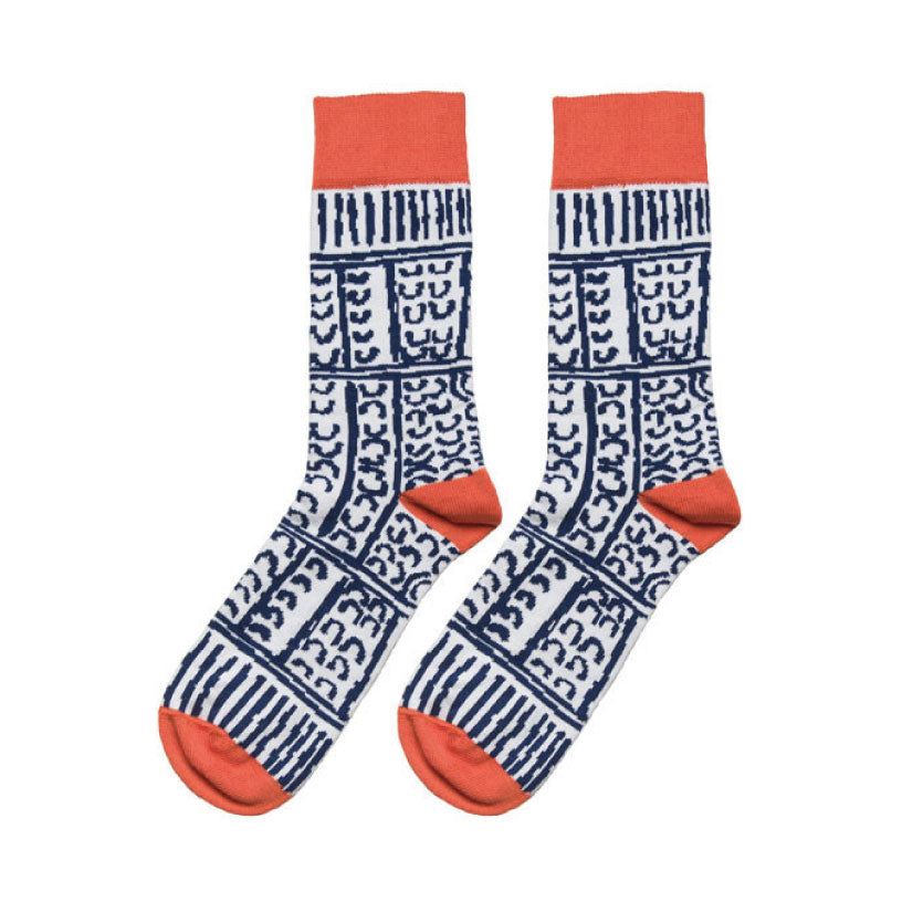paddy-stewart-socks-orange-white-and-blue-aboriginal-design