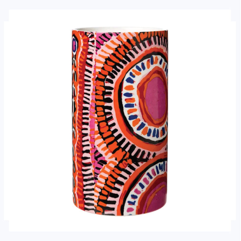 pink-and-orange-murdie-morris-aboriginal-design-vase