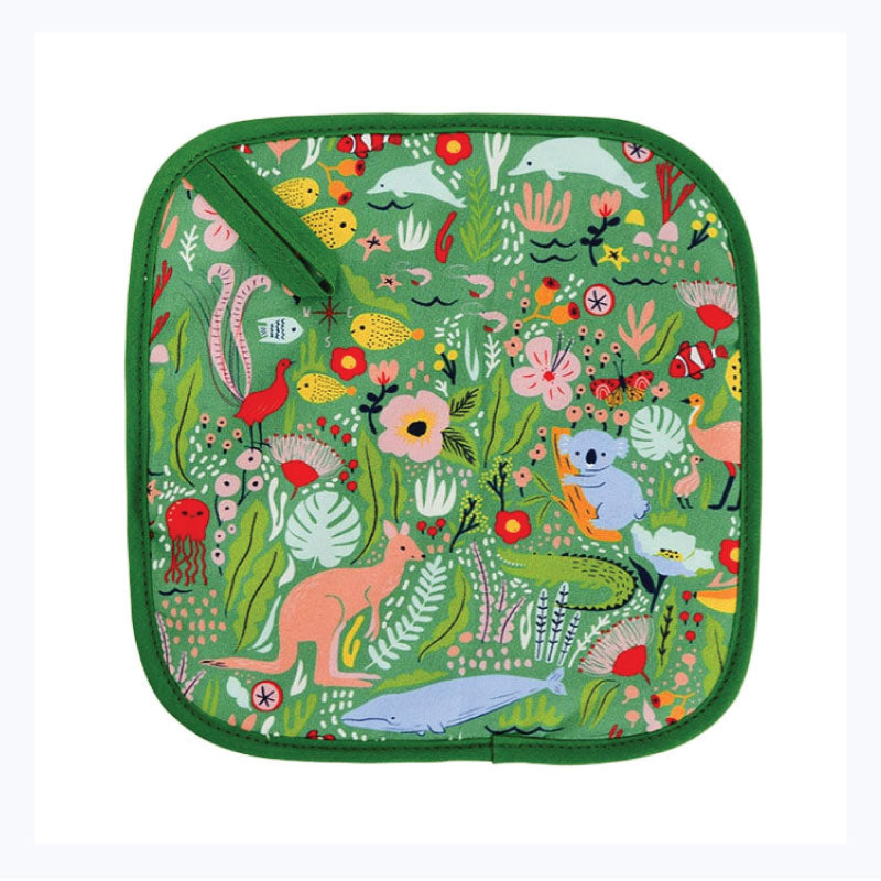 Pot holder down under green koala kangaroo gift