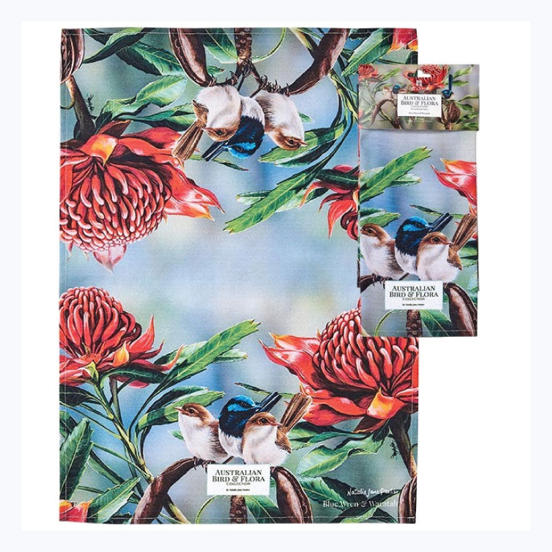 tea towel fairy wren and waratah superb